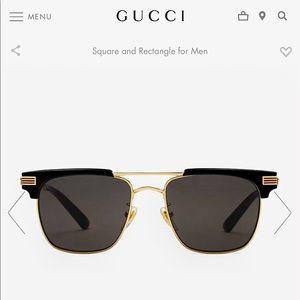 •GUCCI• Square Frame Metal Sunglasses